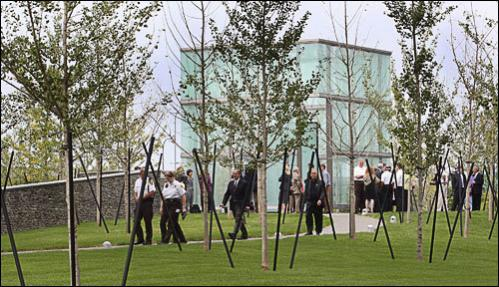 The Massachusetts Port Authority dedicates the Boston Logan International Airport 9/11 Memorial on Tuesday, September 9, 2008. The names of the 147 passengers and crews of American Airlines Flight 11 and United Airlines Flight 175 are etched on two 11-foot glass panels inside the $4 million glass and steel sculpture, called The Place of Remembrance.