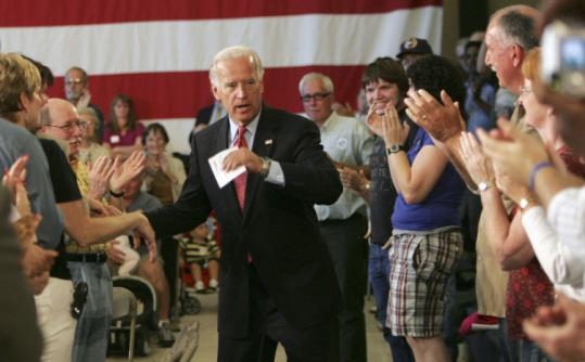 Democratic vice presidential candidate Senator Joe Biden arrived at a campaign stop in Nashua yesterday.