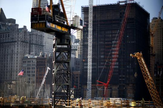 Construction continued yesterday at ground zero in lower Manhattan as the city prepared for today's seventh anniversary of the terrorist attacks.