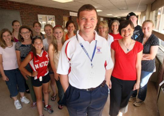 Natick High assistant principal Zachary Galvin has ''Zach's Pack'' behind