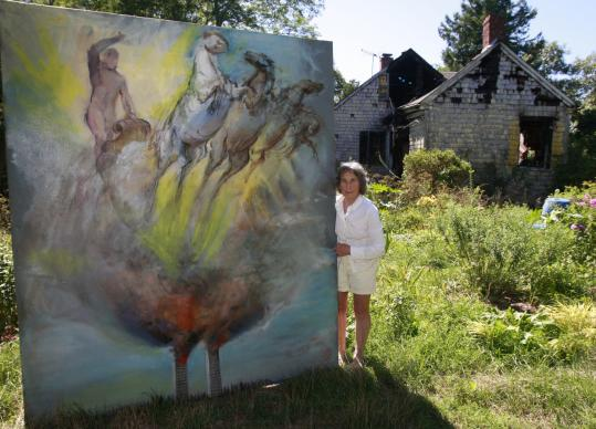 Top: Nancy Ellen Craig holds her painting ''Apollo Rising From the Ashes'' in front of her home, which burned in March. Center: Craig stands between her portraits of Frank Lloyd Wright (left) and Hans Hofmann. Bottom: Working with a model in the 1950s.