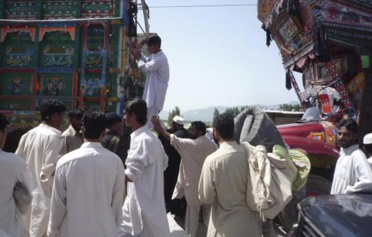 Villagers fled yesterday in Pakistan's troubled Swat region, where security forces are fighting with militants. An intensifying insurgency in Afghanistan has put pressure on Pakistan.