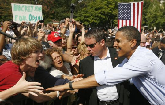 Senator Barack Obama campaigned at a rally in Manchester, N.H., yesterday. At the event, Obama asked supporters to donate to the Red Cross for victims of Hurricane Ike.