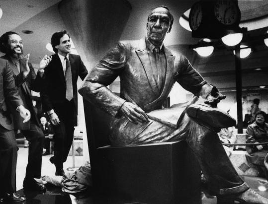 Tina Allen's sculpture of A. Philip Randolph was unveiled at Boston's Back Bay Station, with Byron Rushing (left) and John Dukakis. Randolph organized a union for train porters.