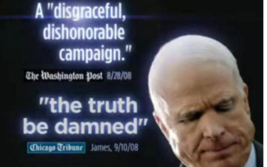 A Barack Obama ad quotes press remarks about John McCain's campaign. Democrats have added a ''Count the Lies'' Web page.