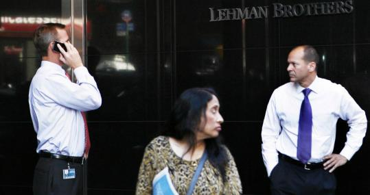 Uncertainty reigned yesterday outside the world headquarters of Lehman Brothers Holdings Inc. in New York.