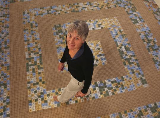 Holliston artist and guest curator Denise Driscoll explores her work in the show 'DNA Blanket (labyrinth).'
