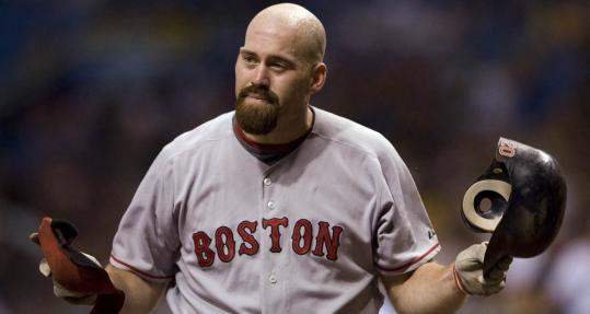Kevin Youkilis can't believe it, but it's a fact - the Sox first baseman has been called out on strikes against Andy Sonnanstine.