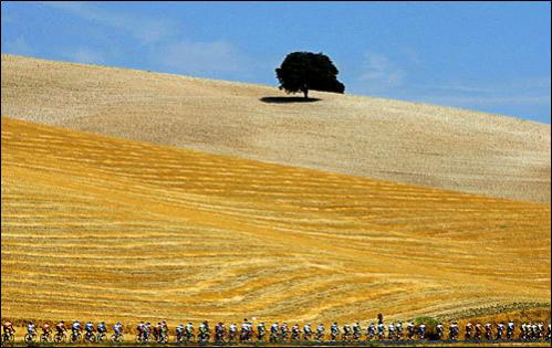 Riders pedal on the second day of the Spanish Vuelta between Granada and Jaen, southern Spain, on Sunday, Aug. 31, 2008.