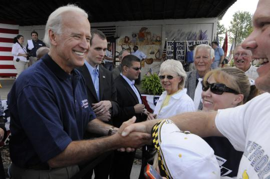 Democratic vice presidential candidate Joe Biden greeted supporters after a rally at the United Mine Workers of America, District 17's 13th Annual Fish Fry at the Russell County Fairgrounds in Castlewood, Va., yesterday.
