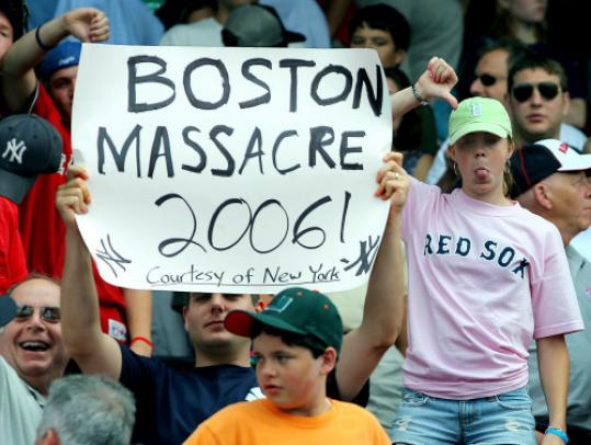 Yankees and Red Sox fans express their thoughts after New York defeated Boston in 2006.