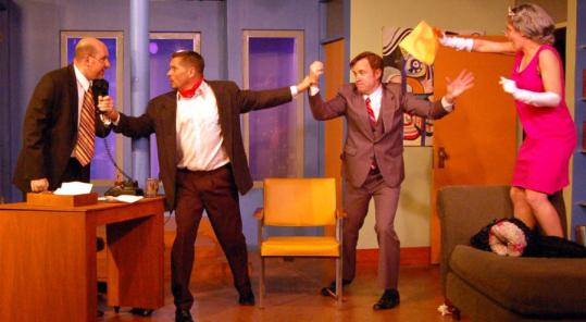 Acme Theater performers (from left) Dave Fisher, Will McGregor, Dave Wood and Robin Rapoport take the audience on a nutty romp in the Maynard troupe's season opener, ''Meanwhile, Back on the Couch.''