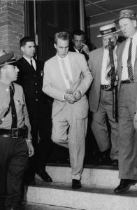 Norman Porter leaves court in 1961 after a hearing in his murder case and, in 2005 (below), following his recapture.