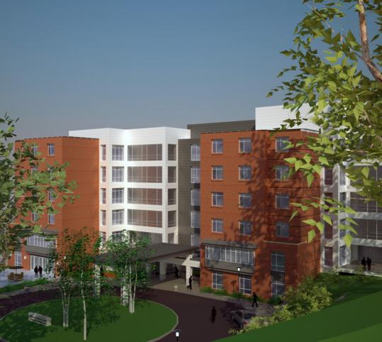 An architectural rendering of the Leonard Florence Center for Living, to be built in Chelsea. It will forgo many features of traditional nursing homes.