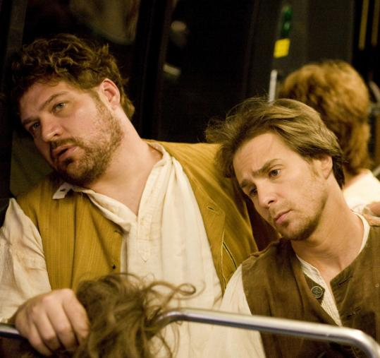 Brad William Henke (left) and Sam Rockwell star as colonial impersonators in the movie version of Chuck Palahniuk's novel ''Choke.''