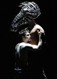 Daniel Radcliffe (left) as Alan Strang and Lorenzo Pisoni as the beloved horse Nugget in ''Equus.''