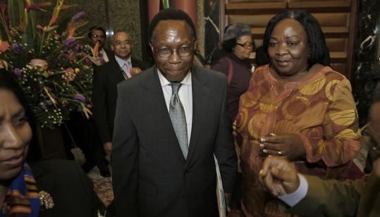 South Africa's president, Kgalema Motlanthe (center), said yesterday, ''We see before us many mountains that are yet to be climbed, and numerous rivers that still need to be crossed.''