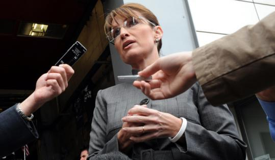 Republican vice presidential candidate Sarah Palin talked to reporters yesterday next to the World Trade Center site.