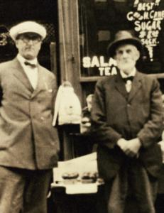 Sidney Buffett (right), with son Frank, founded the family's Omaha store in 1869.
