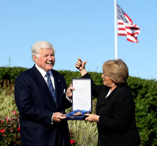 On Tuesday, President Michelle Bachelet of Chile visited Hyannis Port and gave Senator Edward M. Kennedy the nati