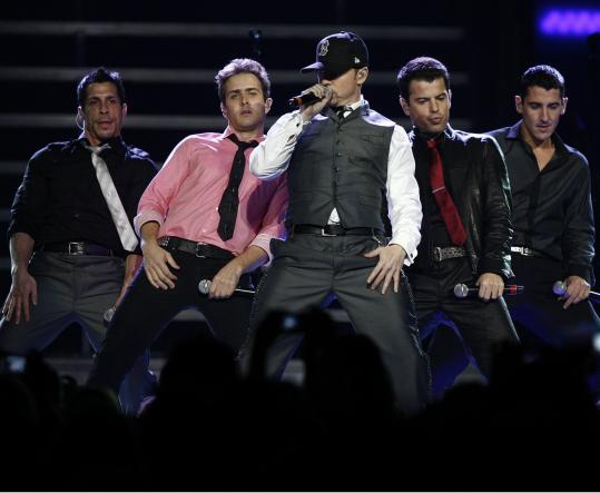 More than 20 years after first making a name for themselves, Danny Wood (from left), Joey McIntyre, Donnie Wahlberg, Jordan Knight, and Jonathan Knight brought New Kids on the Block back to Boston last night.