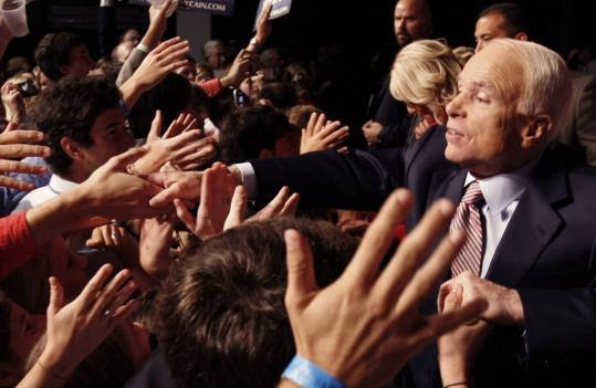 Senator John McCain greeted supporters at a rally after his debate Friday night with Senator Barack Obama at the University of Mississippi in Oxford.