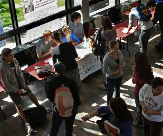 At a Boston University registration drive last spring, Democrats were urging students to vote in their home states.