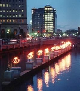 The WaterFire exhibit in August 1997 showcased bonfires built in metal pans. This year's event will be held Saturday.