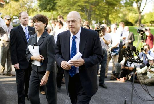 Treasury Secretary Henry Paulson (right) pledged yesterday to renew negotiations with lawmakers. He said he has ''significant tools in our tool kit'' to fix the economy, but they are ''insufficient'' to solve the current crisis without a bailout deal.