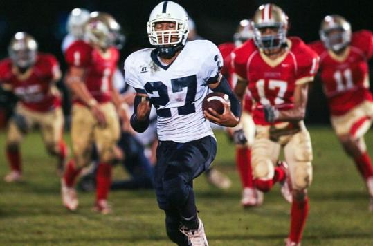 St. John's George Sessoms scored all three Prep touchdowns in the 20-7 win.