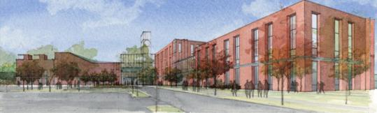 An artist's rendering of one of the proposals for the new Wellesley High School, ''the Hub'' would be an all-new construction set back from Rice Street to accommodate a central parking area near the front entrance.