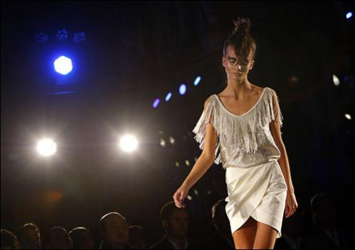 A model wears a creation by Thailand's fashion designer Princess Sirivannavari Nariratana during her spring-summer 2009 ready-to-wear collection presented in Paris, Saturday, Sept. 27, 2008. See more photography at Boston.com/photos