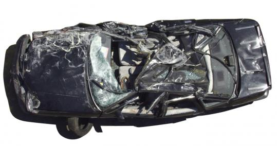 The car that was crushed by falling ceiling panels, killing passenger Milena Del Valle in a Big Dig Tunnel in Boston.