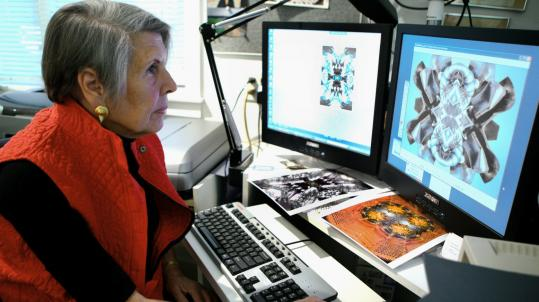 Marika Barnett, at work in her Stow home, uses a computer to combine four versions of a photograph to create a ''fifth image.''