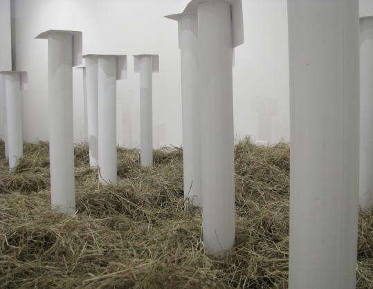 Dan Senn's ''Many Pairs Sounding'' features subsonic music that plays on CDs installed in plastic tubes topped by folded paper.