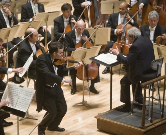 Gil Shaham performs Stravinsky's Violin Concerto last night with the Boston Symphony Orchestra led by Andre Previn.