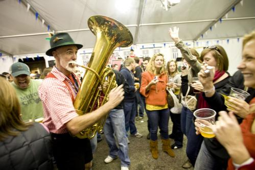 Front row seats: A tuba player from The Jolly Kopperschmidts German Band ventured into the crowd during Octoberfest. More info on the Harpoon Brewery SUBMIT Your nightlife photos! TALK What scene should we visit next?
