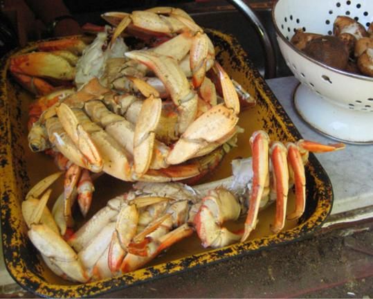 Fresh-caught Dungeness crab and potatoes are among the local ingredients to choose from on Vancouver Island, off the coast of British Columbia.