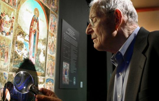 PHOTOS BY Wendy Maeda/Globe StaffGordon Lankton, owner of the Museum of Russian Icons in Clinton, examined an icon. At left, works depicting the Madonna and child are on display. This month, the museum will host its first traveling exhibition. ''Two Museums/One Culture'' will feature 16 master icons from Moscow's State Tretyakov Gallery, as well as icons from the Clinton museum's collection.