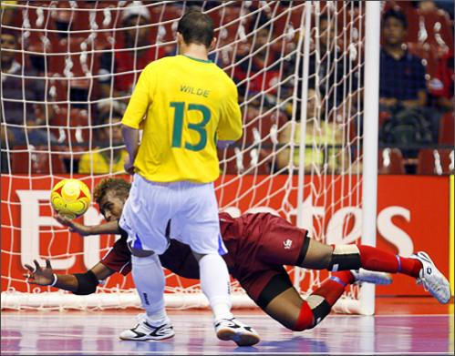 See more photography at Boston.com/photos Brazil's Wilde scores a goal against Salomon Islands during a FIFA Futsal World Cup 2008 match in Brasilia, Thursday, Oct. 2, 2008.