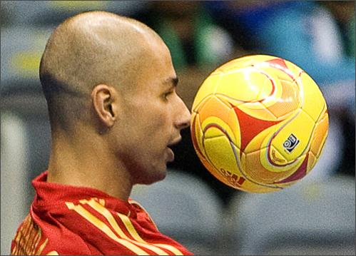 See more photography at Boston.com/photos Spain's Alvaro controls the ball on October 1, 2008 during a qualifying game with Iran for the FIFA Futsal World Cup in Rio de Janeiro, Brazil.