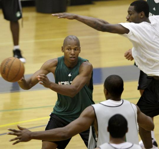 Ray Allen looks to pass here, but he'll be playing a more prominent role as a shooter, Celtics coach Doc Rivers promises.