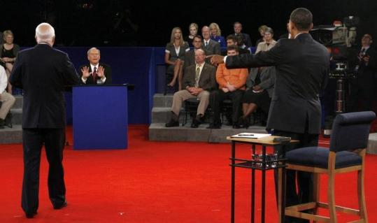 Jim Bourg/Reuters/PoolTom Brokaw of NBC News moderated the presidential debate between Senators John McCain and Barack Obama, which was held at Belmont University in Nashville last night.