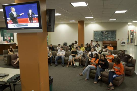 University of Miami students in Coral Gables, Fla., were among the 63 million people who watched Tuesday's presidential debate on the major broadcast and cable networks.