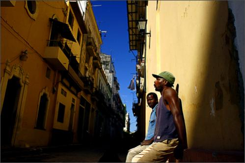 See more photography at Boston.com/photos Cuban construction workers take a break during their working day in Old Havana, Sunday, Oct. 5, 2008.