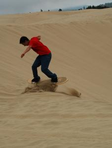 Wynn Humphrey-Keever of Portland tried his moves at Sand Master Park in Florence, a coastal community west of Eugene.
