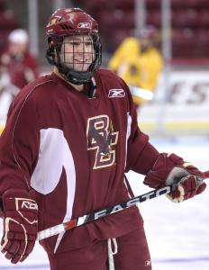 There's no masking Joe Whitney's joy as BC prepares to begin defense of its national title.