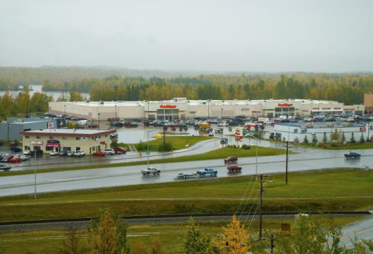 The Fred Meyer store stands at the intersection of the Palmer-Wasilla and Parks highways, near Wasilla Lake.