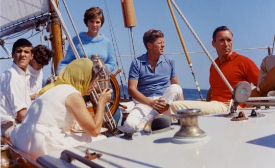 President Kennedy and John Kerry (far left) sailed aboard the 62-foot yawl the Manitou in Narraganset Bay, Aug. 26, 1962. The yacht was commissioned in 1947 by James Lowe of Chicago.