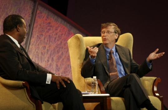James Cash Jr. and Bill Gates were among those discussing a possible next phase of the economic crisis yesterday.